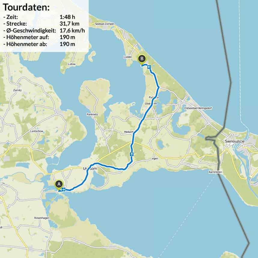 Radtour Berlin Usedom karte letzter Abschnitt