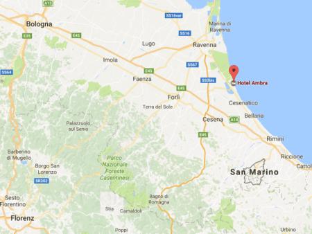 Italien Karte mit dem Hotel Ambra